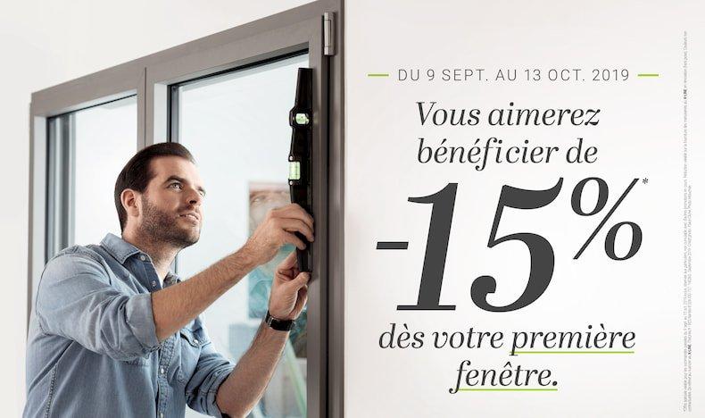 - 15% sur vos fenêtres